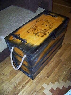 Rustic Coffee Table Wood Pine Chest Trunk Blanket Box Vintage Cottage