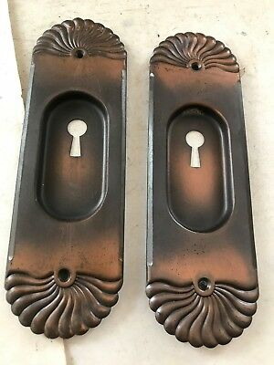 2 Old Arts Craft Victorian Copper Wash Brass Plated Steel Pocket Door Pull Plate