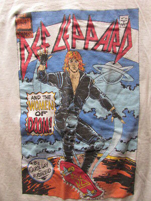 Def Leppard Vintage Women 1987 Comic Book Concert Tour Shirt Medium (?) Hysteria