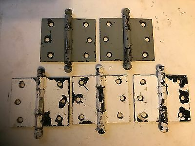 "5 Antique Shabby Chippy Steel Cupboard Cabinet Door Ball Top Tip Pin 3"" Hinges"
