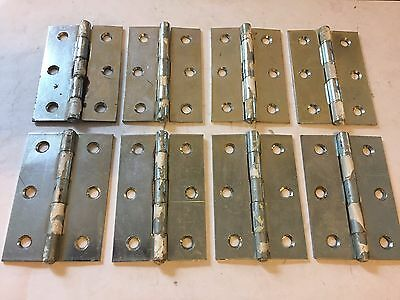"8 Old Vintage Chrome Plated 3"" Shabby Chippy Deco Cupboard Cabinet Door Hinges"