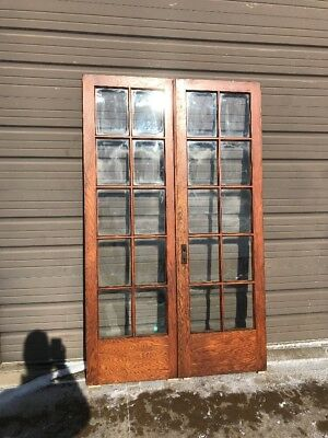An 429 Match Pair Antique Oak Flat Glass French Doors