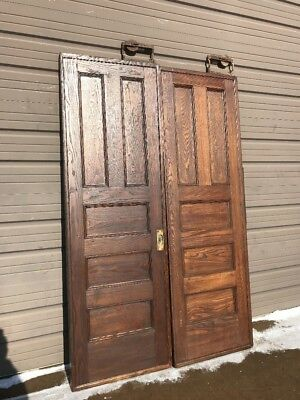 An 432 Match Pair Antique Oak Pocket Doors 56.25 X 87.25 Refinished