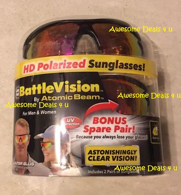 BattleVision HD Polarized Sunglasses Battle Vision As Seen On TV (2 Pair!) - NEW