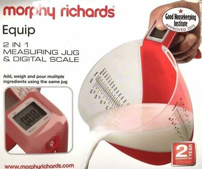 MORPHY RICHARDS 2-in-1 Jug Scale Red with LCD display Baking Cooking Scales NEW