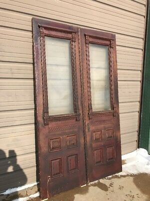 An 435 Match Pair Antique Double Door Victorian Entrance 54 X 89