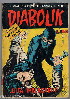 Fumetto=1969 Diabolik Anno Viii N. 11 Lotta Implacabile Editore : Astorina Origi