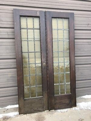 An 439 Match Pair Antique Stainglass Leaded French Doors Oak 48 Inch