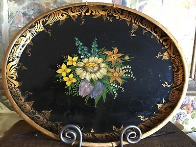 Antique Tole Tray Hand Painted Toleware Oval Black with Floral Gold Trim