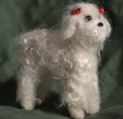 Handmade Needle Felted Standard Poodle with real Angora Goat Hair