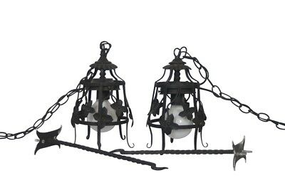 Vintage Pair  Wrought Iron Black Electric Hanging Lamps w/ wall hooks Working