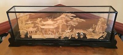 Vintage Chinese Hand Carved Cork Art Diorama In Wood And Glass Enclosure 18 x 3