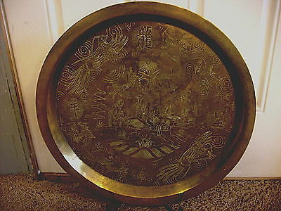 China Antique Heavy Large Bronze  Charger Ornate Silver Dragons Rare 23
