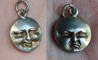 RARE 1900 Antique French Silver Two Face Man in Moon Charm Vintage Happy Sad