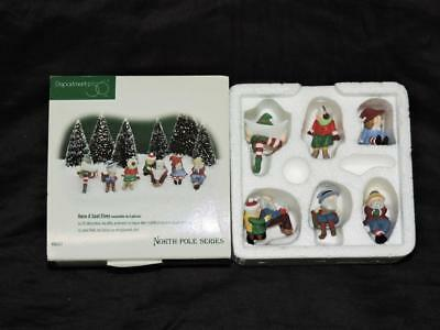 Dept 56 North Pole Series Have A Seat Elves Set of 6 Sitting Christmas Elf 56437