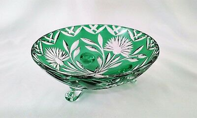 Vintage Bohemian Czech Cut-To-Clear Green Footed Bowl