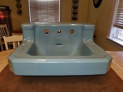 Vintage 1952 Regency Blue Porcelain Ceramic Bathroom Sink Old Standard