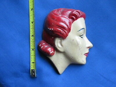 Vintage 20's Chalkware Lady Wall Plaque England Chalk Antique!
