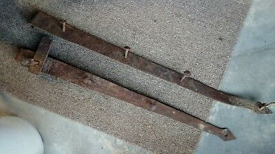 "Nice! 2 Antique Hinges 34"" Hand Forged Rusty Iron Steel. Old Pa. Barn Door"