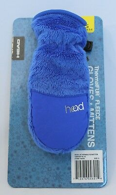 HEAD ThermalFUR Fleece Mittens Child Size S (5-6) Vibrant Blue Fall Winter Youth