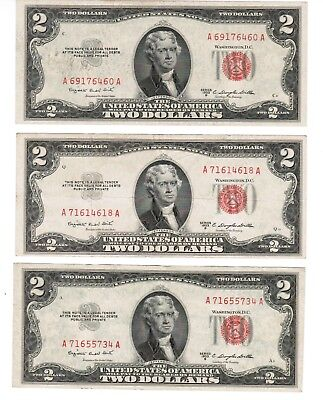 $2 Legal Tender Red Seal Note Series LT 1953-B  fr.1511 LOT of 3 notes