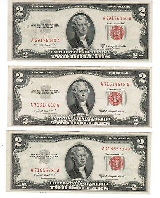 Lot of 3 US $2 Legal Tender Red Seal Note Series LT 1953-B  fr.1511