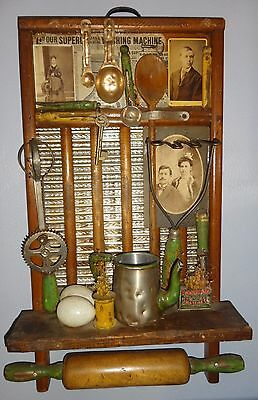 Primitive Wall Hanging-Wash Board/Rolling Pin/Cabinet Card/Egg Beater/Masher