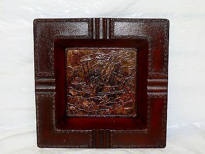 """Antique Cast Iron Art Deco Chinese Woman In Boat Gilded Cigar Ashtray 10"""" Square"""