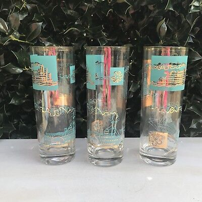"Set of 3 Vintage Riverboat Gold & Teal Glasses Southern Comfort 7"" Tall Steam"