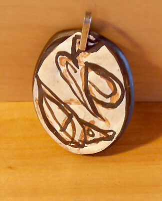 """Ed Levin Jewelry Ceramic Oval Brown/White Abstract Vintage Pendant @1 3/8"""" LCA10"""