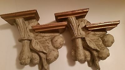 Shabby chic wall sconces with 4 shelfs for pictures or nic nacs set of 2