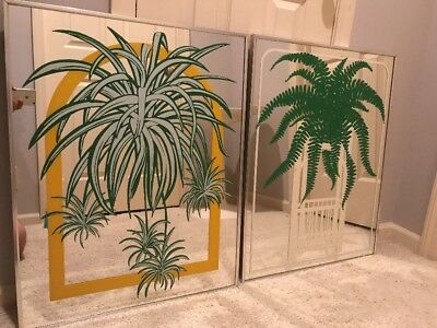 Vtg Mid Century Turner Accessories Wall Mirror Pair w/ Plant Graphics