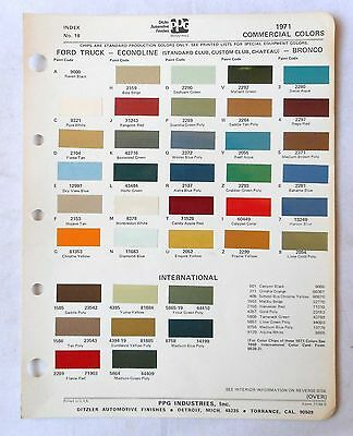 1971 Ford Truck Ppg  Color Paint Chip Chart All Models Original