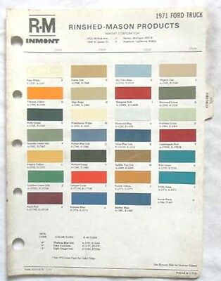 1971 Ford Truck R-M Color Paint Chip Chart All Original