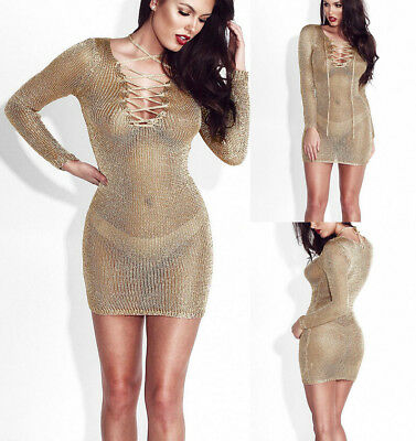 USA Women Sexy Lace V-Neck Bodycon See-through Clubwear Cover-Up Mini Dress