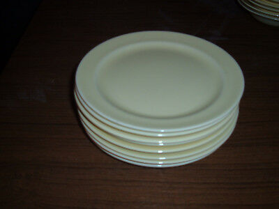Vintage Set of Eight  T S & T Lu-Ray Pastels 6 3/8 inch Yellow Plates
