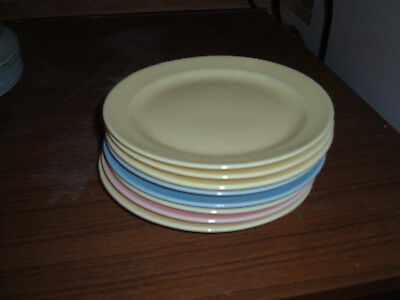 Vintage Set of 8  T S & T Lu-Ray Pastels 6 3/8 inch Plates Mixed Colors