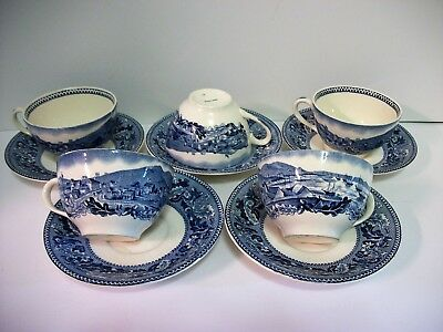 5 Vtg Johnson Brothers Historic America Cups & Saucers San Francisco Gold Rush