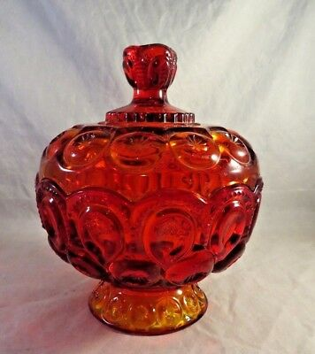 Amberina Glass Moon & Stars Pedestal Covered Compote Candy Dish L.E. Smith