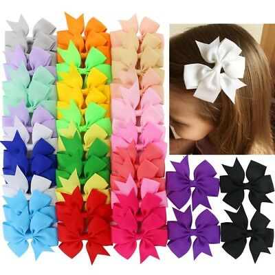 40Pcs Boutique Grosgrain Hair Bows Ribbon Alligator Clips Girls Teen Kids Baby