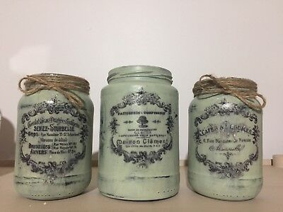 French Decal Shabby Chic Green Distressed Glass Jar Vases Vintage Style Set of 3