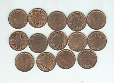 India 14 piece lot of 1939-B 1/2 pice, uncirculated