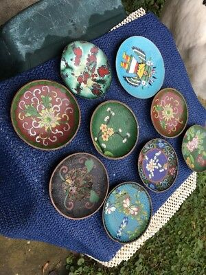 Vintage Chinese Cloisonne Brass,Bronze 9 Pieces Coasters Sauce Dishes Ashtray
