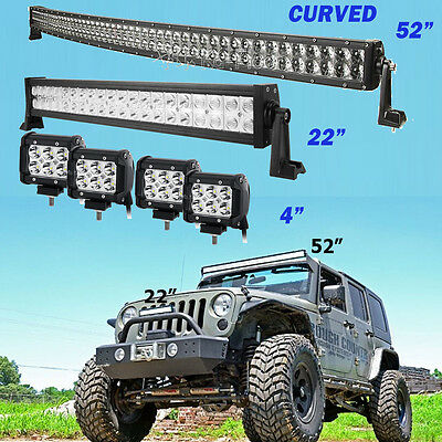 """4D+ Curved 52"""" LED Light Bar Combo + 22"""" +4"""" CREE PODS OFFROAD SUV 4WD FORD JEEP"""
