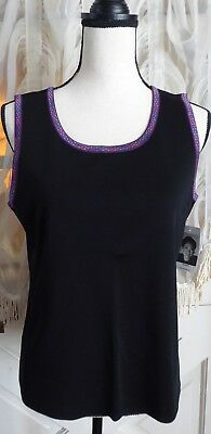 NWT EXCLUSIVELY MISOOK Black Purple Trim Scoop Neck Sleeveless Tank Top Blouse M