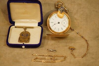 Antique 14K Gold BPOE Elk's Lodge Fob, Waltham 1903 Pocket Watch, 2 Chains, IOWA