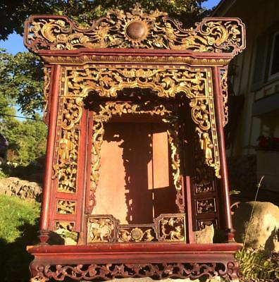 AUTHENTIC ANTIQUE CHINESE c.1900 CARVED WOOD BUDDHIST ALTAR SHRINE CABINET