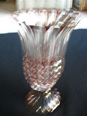 Ruby Red and Clear Glass Candle Holder 2 Piece Candlestick Hurricane 11 3/4