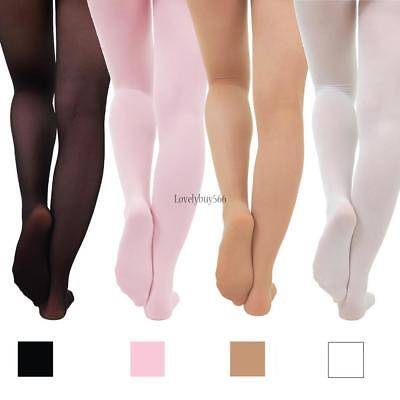 Children's Girls Ballet Dance Tights Footed Seamless Solid Stockings LB6Y