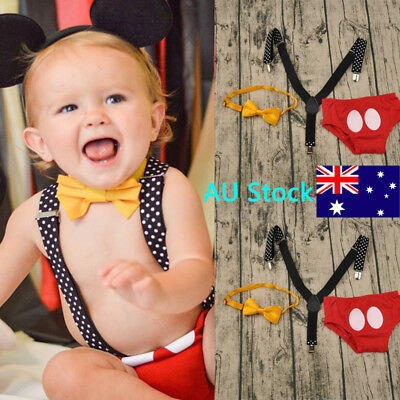 AU 3PCS Baby Boys Suspenders Pants Newborn Kids Bowtie Outfit Cake Smash Clothes
